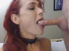 Busty Redhead Tranny Deepthroats a Hard Cock POV