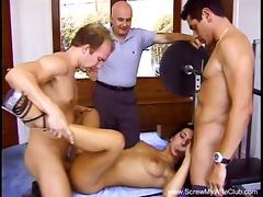 Hairy Brunette Swinger Wild Threesome porn tube video