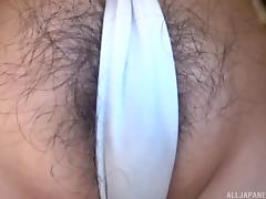 Kinky Japanese chick likes gagging on a fellow's cock