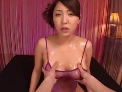 Asian diva having her natural tits oiled lovely in pov shoot tube porn video