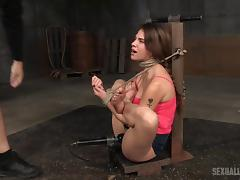 One of the cutest babes ever becomes a captive and has to suck dicks