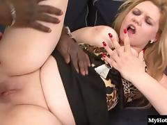 Nice ass BBW stripping then ravished in interracial porn porn tube video