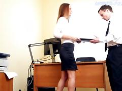 Employee submits to his sexy boss and licks her feet porn tube video
