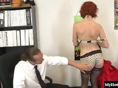 Redhead cougar with nice ass pounded hardcore in office