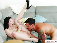 cute housewife gets pounded hard by her neighbor