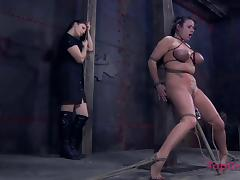 Busty raven-haired filly gets tied up by her smoking hot domina porn tube video