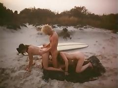 outdoor beach sex two girl threesome from 1979 tube porn video