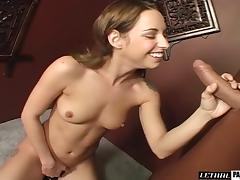 Small tits maiden giving big cock handjob passionately