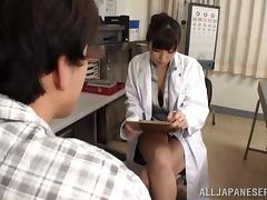 Japanese nurse cures the guy by giving him a mind-blowing handjob