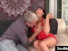 Brunette MILF fucked and cum in mouth porn tube video