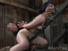 Small tits bondage brunette striped seductively outdoor
