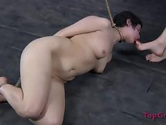 Brunette slave with natural tits humiliated in femdom seen porn tube video