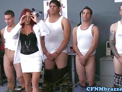 Dominating army babes cockriding in uniform tube porn video