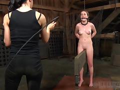 Two studs have their way with horny Jessie in the dungeon