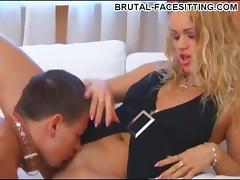 Bossy mistress rides the face of her collared slave boy porn tube video
