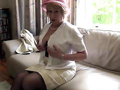 Mature chick called Rosemary is now horny and will try to masturbate