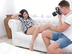 Black-haired chick shows the pussy and lets the guy screw it hard