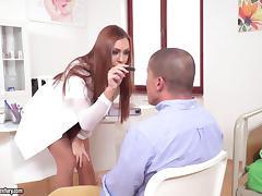 Stunning brunette kneels down and lets the guy get inside her hole porn tube video