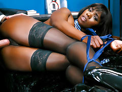 Bound, Bound, Interracial, Small Tits, Stockings, Tied Up