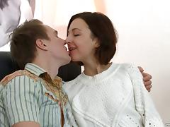 Sweet Liona Bee always smiles during the hard pussy penetration