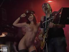 Jeny Smith strips in a bar then hits the stage with the rock band being naked