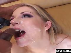 Foxy blonde slut gets drilled hard in a kinky interracial gangbang