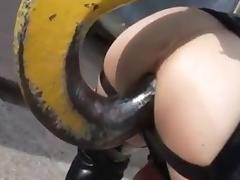 Latex dildo-grua
