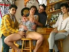 Bar, Bar, Blowjob, Brunette, Couple, Fucking