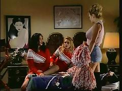 Olivia and her friends spice up the lesbian session with the strap-on porn tube video