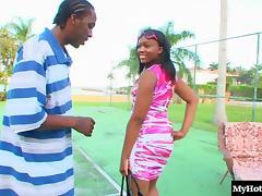 Sensual ebony stunner gets to pleasure a massive black dick porn tube video