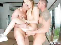 DP action with kinky spunk guzzling brunette
