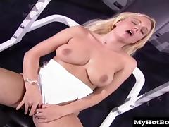 Lusty blonde bitch gets nailed really hard in the gym tube porn video