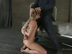 Audrey's tits and pussy are getting punished in a pretty rough way