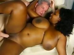 Busty Black chick fucked by an older white guy BWC
