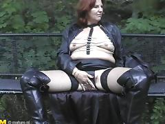 Mature chick with the red hair getting the hard screwing in the woods