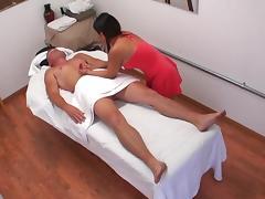 Brunette applies massage but provides sex as well for extra cash