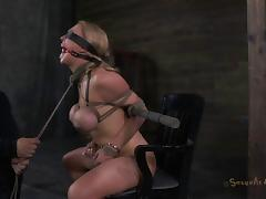 Big tits bondage doll face fucked in hardcore BDSM tube porn video