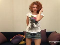 Seductive redhead with curly hair enjoys stretching her wet snatch porn tube video