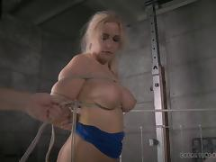 Busty babe's holes penetrated by two randy stallions