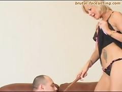 Blonde mistress Irina orders her servant to do the pussy licking