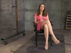 Busty brunette is now a slave who has to take the dick into mouth