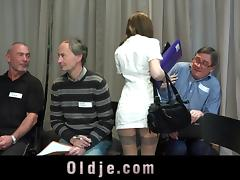 Slutty nurse fucked hard in gangbang meeting of 5 old doctors porn tube video