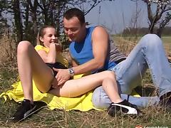 Horny couple fuck their brains out on a romantic picnic