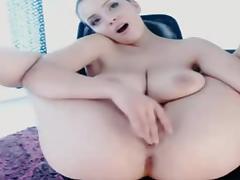 Shaved and busty brunette cam masturbation
