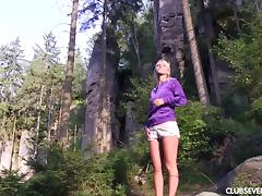 Sweet little blonde called Sara visits the wilderness and masturbates porn tube video