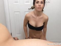 Brunette sexy chick with hot panties sucking big boner and gets cummed all over her face