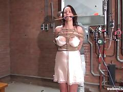 big boobed brunette milf tortured in the dungeon