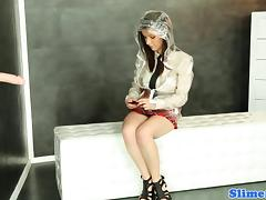 Bukakke schoolgirl masturbating at gloryhole porn tube video
