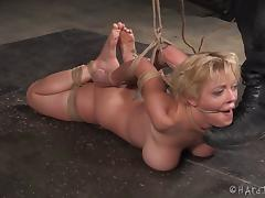 Short-haired blonde chick is tied up by her muscular black captor