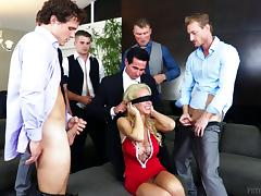 Blindfolded, Blindfolded, Blonde, Gangbang, Hardcore, Mask